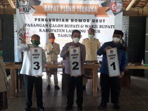 KPU Kabupaten Lampung Timur (Lamtim), melakukan rapat pleno terbuka pengundian nomor urut pasangan calon bupati dan wakil bupati